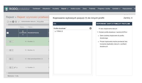 RODOprotektor IOD - Kopiowanie danych profilu - Program dla Inspektorów Ochrony Danych