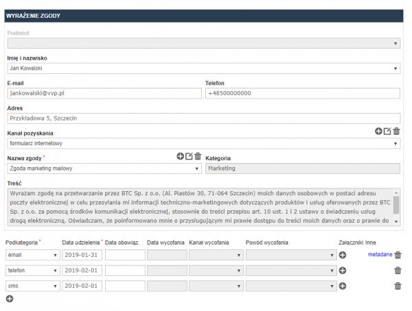 Rejestr zgód - wyrażenie zgody na przetwarzanie danych. Program RODOprotektor.