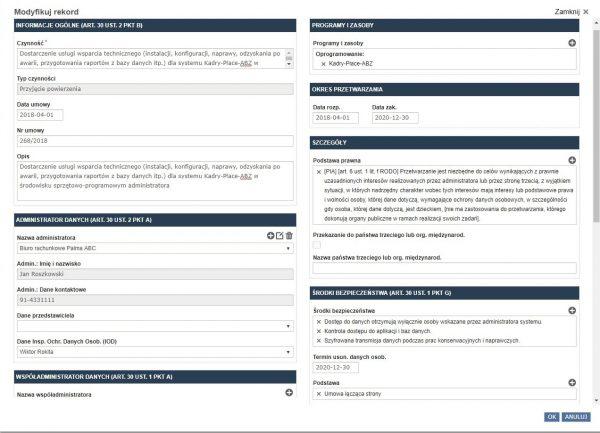 Rejestr kategorii czynności przetwarzania w programie do RODO - RODOprotektor