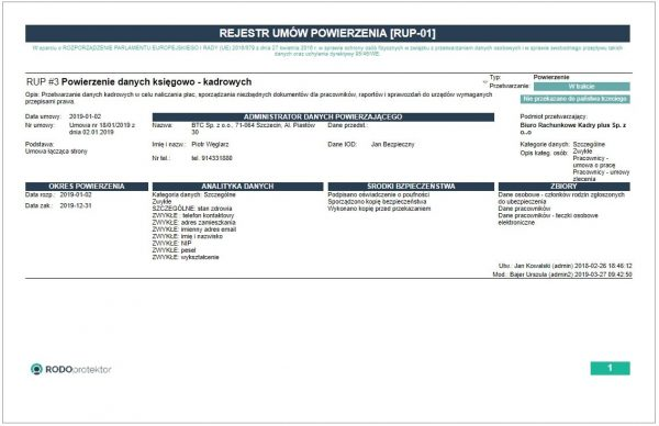 Rejestr umów powierzenia - program RODOprotektor