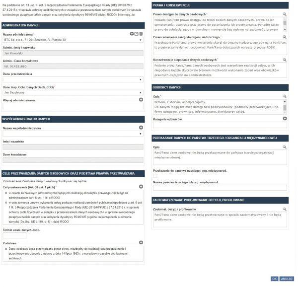 Rejestr klauzul informacyjnych w programie RODOprotektor
