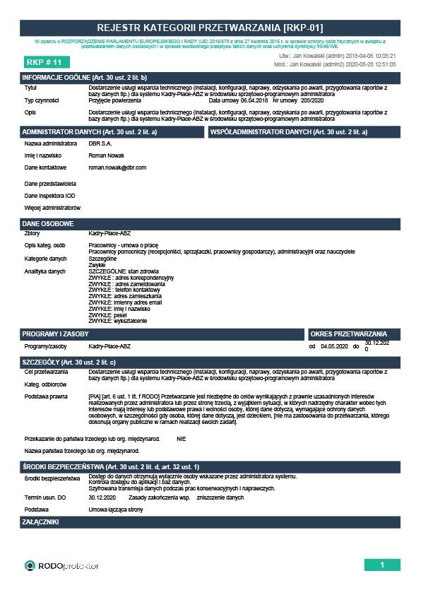 Aplikacja do RODO - rejestr kategorii przetwarzania